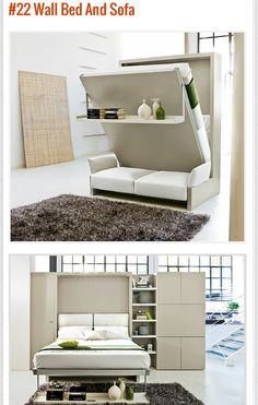 Studio apartment decorating ideas. Maximize small apartment space with these bed wall with sofa/ murphy bed