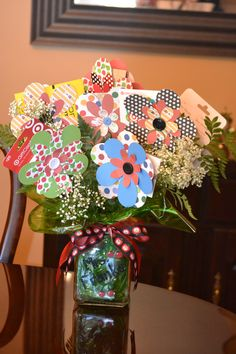 Paper flower gift card bouquet for teacher appreciation or end of year gift