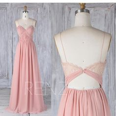 2017 Blush Chiffon Bridesmaid Dress, Ruched Sweetheart Wedding Dress, Spaghetti Strap Prom Dress, Illusion Lace Back Maxi Dress Floor (L338)