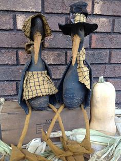 Primitive Stuffed Crow Dolls by BeaverBoutiquePrim on Etsy