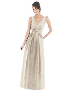 Alfred Sung Bridesmaid Dress D505  fabric: Dupioni  color: champagne *(see pearl pink)