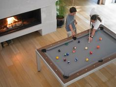 Design Features: Unique patent pending design features were engineered to fuse a pool table into a design dining table. The fusion table integrates a steel Space-Frame to offer the strength and stabil. Outdoor Pool Table, Pool Table Dining Table, Dinning Room Tables, Pool Tables, Dinner Table, Pool Table Dimensions, Moderne Pools, Flipper, Play Pool