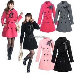 Hot Sell Women's Woolen Warm Winter Luxury Long Coat Jacket Trench Slim Fit New | eBay