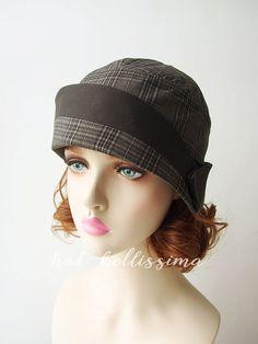Dark grey 1920s Cloche Hat Vintage Style hat by hatbellissima