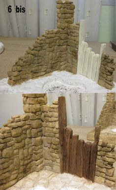 This idea could be used as a stable scene in a nativity arrangement. Christmas Village Display, Christmas Villages, Christmas Nativity, Christmas Crafts, Christmas Decorations, Fontanini Nativity, Miniature Houses, Diy Dollhouse, Fairy Houses