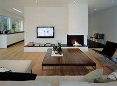 Great looking modern living room Living Room Tv, Home And Living, Living Spaces, Modern Living, Simple Living, Kitchen Living, Home Fireplace, Fireplace Design, Fireplaces