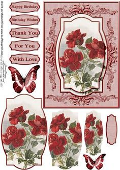 Cardtopper red roses 290 on Craftsuprint - View Now!