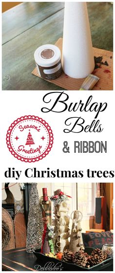 #Burlap bells and ribbon #Christmas cones. #FloraCraft