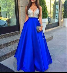 Blue v neck sequin long prom dress for teens, blue evening gown