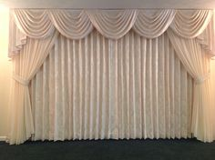 The finishing touches on the newly remodeled Yanac Funeral Home. Beautiful Custard Cream damask draperies and Swag and Jabot Valance with an Etherial sheer overlay and tie backs finish this soft elegant last repose. Living Room Decor Curtains, Home Curtains, Curtains With Blinds, Valances, Luxury Curtains, Elegant Curtains, Beautiful Curtains, Curtain Styles, Curtain Designs