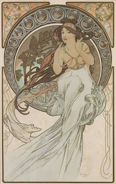 """A wonderful poster by artist Alphonse Mucha! An elegant Art Nouveau depiction of """"Music"""" - from his series The Arts. Check out the rest of our excellent selection of Alphonse Mucha posters! Need Poster Mounts. Art Nouveau Mucha, Alphonse Mucha Art, Art Nouveau Poster, Retro Poster, Poster Vintage, Illustrator, Motif Art Deco, Jugendstil Design, Art Vintage"""