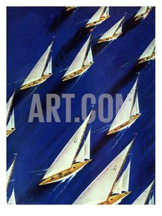 """Sailboat Regatta,"" June 1940 Giclee Print by Ski Weld Vintage sailing boat prints Shielded Metal Arc Welding, Metal Welding, Welding Art, Welding Projects, Art Projects, Welding Tools, Metal Projects, Project Ideas, Welding Crafts"