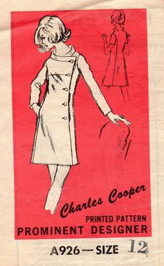 Prominent Designer Charles Cooper 60s Sewing Pattern Coat Dress Retro Mod Jackio O Style Coatdress Band Collar Off Side Button Front Bust 34 by AdeleBeeAnnPatterns on Etsy