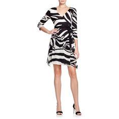 Diane von Furstenberg Riviera Zebra Print Silk Wrap Dress ($478) ❤ liked on Polyvore featuring dresses, zebra, silk drop waist dress, diane von furstenberg dresses, silk wrap dress, zebra dress and white wrap dress