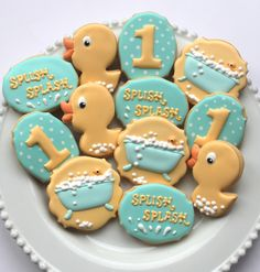 https://flic.kr/p/r8fCYu   IMG_0646   Rubber duck first birthday cookie set by Miss Biscuit