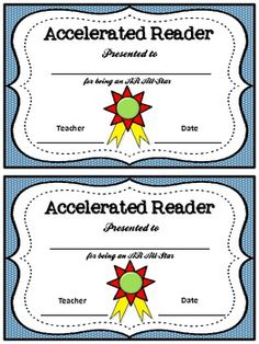 Includes awards for Accelerated Reading and Accelerated Math. For reading, I give it to students who exceeded their AR Goals that they set at the beginning of the year. So, it isn't necessarily who has the most points, but who reached or surpassed their Ar Reading, Reading Goals, First Grade Reading, Reading Intervention, Reading Workshop, Teaching Reading, Learning, Accelerated Reader Program, Ar Goals