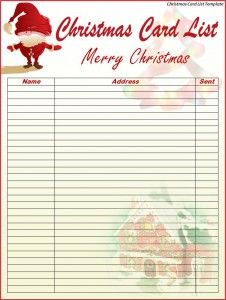 Christmas Card List Template   # Pin++ for Pinterest #