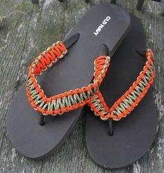 a24d7e8f23f2 Neon Orange and Camo Brown Paracord Flip Flops Shoes Mens Size 10 11