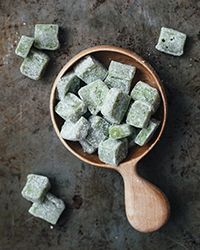 This version of mochi—a sweet Japanese rice cake—gets its pretty green color from matcha powder and a creamy sweetness from coconut milk.  Slideshow: More Coconut Dessert Recipes