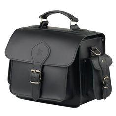 Colour: Black100% LeatherPadded Black InteriorOne front PocketTwo Side PocketsAdjustable Shoulder StrapMade in England