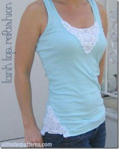 Lace Applique Tank Top Refashion - doesn't link to instructions, but good inspiration Diy Tank, Diy Shirt, Diy Lace Tank Top, Diy Clothing, Sewing Clothes, T-shirt Refashion, Clothes Refashion, Diy Fashion, Ideias Fashion