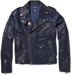 Mcq By Alexander Mcqueen Washedleather Biker Jacket in Blue for Men