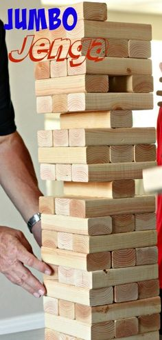 Take Jenga up a notch and make a DIY Jumbo Jenga to take to parties and family gatherings. The perfect party game!
