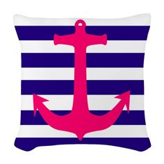 Use these Pillows to accent any living room or bedroom. Customize a pillow or pick from the many throw pillow designs in any size and fabric you want. Designer Throw Pillows, Anchor, Nautical, Stripes, Fabric, Pink, Art, Navy Marine, Tejido