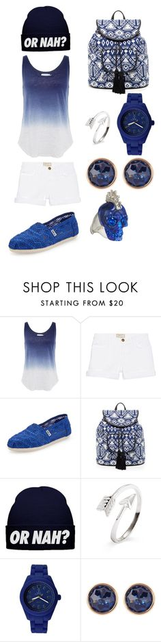 """Sky And Sea"" by preprada202 ❤ liked on Polyvore featuring Velvet by Graham & Spencer, Current/Elliott, TOMS, Shiraleah, Toy Watch, Susan Caplan Vintage and Alexander McQueen"