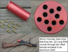 The Hornets Nest is a 40mm adapter that fits 10 rounds of .22LR. With one pull of the trigger, all 10 rounds are fired. This is intended for use with 40mm destructive devices like grenade launchers. I am not sure if the DD NFA status trumps Machine gun? It is multiple rounds fired with one …   Read More …
