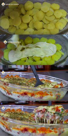 Receita de Batata com brócolis ao forno - - Kostenlose Stock Tina Recipe, Gluten Free Recipes, Vegetarian Recipes, No Cook Meals, Cake Recipes, Food Porn, Easy Meals, Dinner Recipes, Food And Drink
