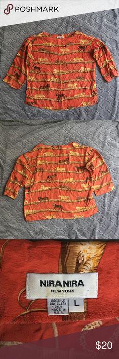 Nita Nira New York blouse size L Nita Nira New York blouse size L. Red/Orange with large cats. Nira Nira New York Tops Blouses