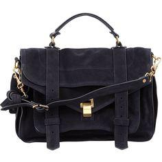 Proenza Schouler PS1 Medium Suede Satchel Bag ($1,905) ❤ liked on Polyvore featuring bags, handbags, navy, navy blue handbags, navy satchel handbags, suede handbags, top handle handbags and blue suede handbag