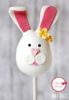 easter bunny cake pops - cake pops hare - tutorial - niner bakes