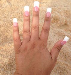 Pink and white acrylic nails - Dehily White Tip Acrylic Nails, Acrylic Nails Coffin Ombre, Fan Nails, Diva Nails, Gorgeous Nails, Pretty Nails, Cute Pink Nails, Mermaid Nails, Crystal Nails