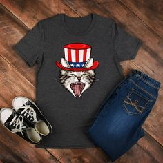ce7ea88b80ed0 Cat July 4 Shirt   Fourth of July Shirt   Shirt   Tank Top   Hoodie