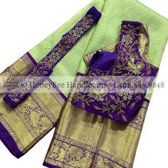 Wedding Saree Blouse Designs, Pattu Saree Blouse Designs, Designer Blouse Patterns, Fancy Blouse Designs, Wedding Sarees, Bridal Sari, Indian Bridal, Wedding Dresses, Saree With Belt