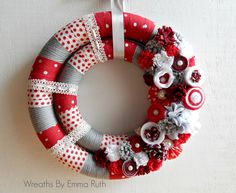 Valentines Double Wreath by Wreaths By Emma Ruth on facebook and Etsy