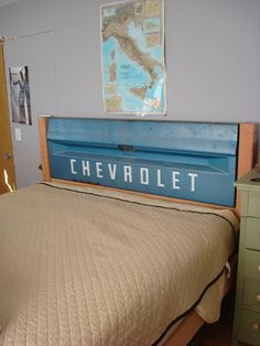 Tailgate headboard, perfect for a little boys room.  #tailgate #headboard #bed #bedroom #chevy #chevrolet #truck #diy #kids #boy #child