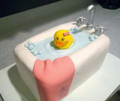 Baby Shower Rubber Rub Duck in the Tub Fondant Cake