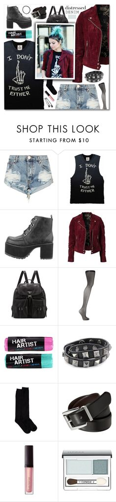 """I Don't Trust Me Either"" by jleigh329 ❤ liked on Polyvore featuring OneTeaspoon, UNIF, Jofama, Prada, Falke, Rebecca Minkoff, Shimera, Merona, Laura Mercier and Clinique"