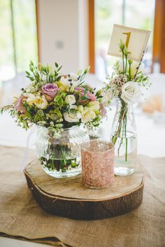 Decor Centrepiece Flowers Vase White Pink Log Hessian Burlap Gold Sequin Outdoor Humanist Wedding http://www.emmahillierphotography.com/