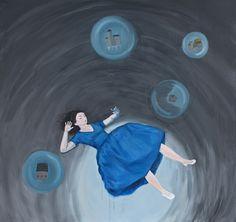 """""""The Fall"""" by Banu Birecikligil, oil on canvas, 170 x 180 cm"""