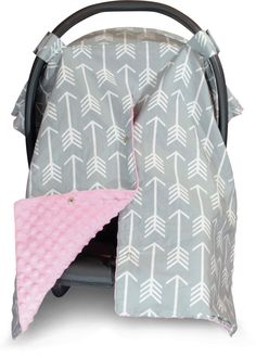 Arrow Car Seat Canopy with Baby Pink Dot Minky and Peekaboo Opening™  sc 1 st  Pinterest & Itzy Ritzy Cozy Happens Infant Car Seat Canopy and Tummy Time Mat ...