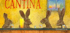 Art Print featuring the painting Tequila Sunrise. by Will Bullas Bear Paintings, Tequila Sunrise, Bar Art, Rabbit Art, Bunny Art, Thing 1, Art Studies, Cocktail Napkins, Fine Art Prints