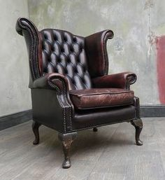 VINTAGE CHESTERFIELD OXBLOOD RED LEATHER WINGBACK QUEEN ANNE ARMCHAIR | eBay