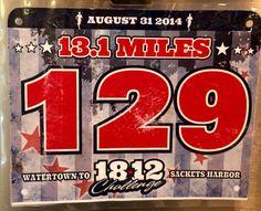 4th Half Marathon - 1812 CHALLENGE.  August 31, 2014.  Sackets Harbor, NY.  Time 2:24:09hrs (10:59). Running Bibs, August 31, Marathon, Challenges, Marathons