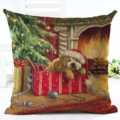 Sleeping Christmas Bulldog Cushion Cover. 30% proceeds from every purchase goes to animal charities.