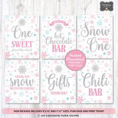 winter onederland food sign instant digital download rustic pink onederland food table card