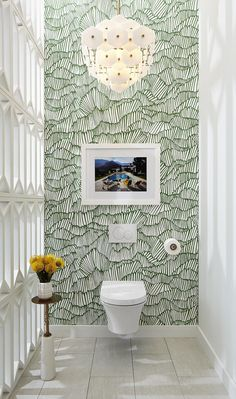 In their DXV Design Panel vignette, Pulp Design Studios opted to use the Seagram Wall-Hung Toilet as a gallery piece, creating a segregated space using partitions reminiscent of Palm Springs concrete blocks. Chandelier by Bad Inspiration, Bathroom Inspiration, Bathroom Ideas, Bathroom Storage, Bathroom Organization, Bathroom Designs, Bath Ideas, Bathroom Baskets, Bathroom Rules